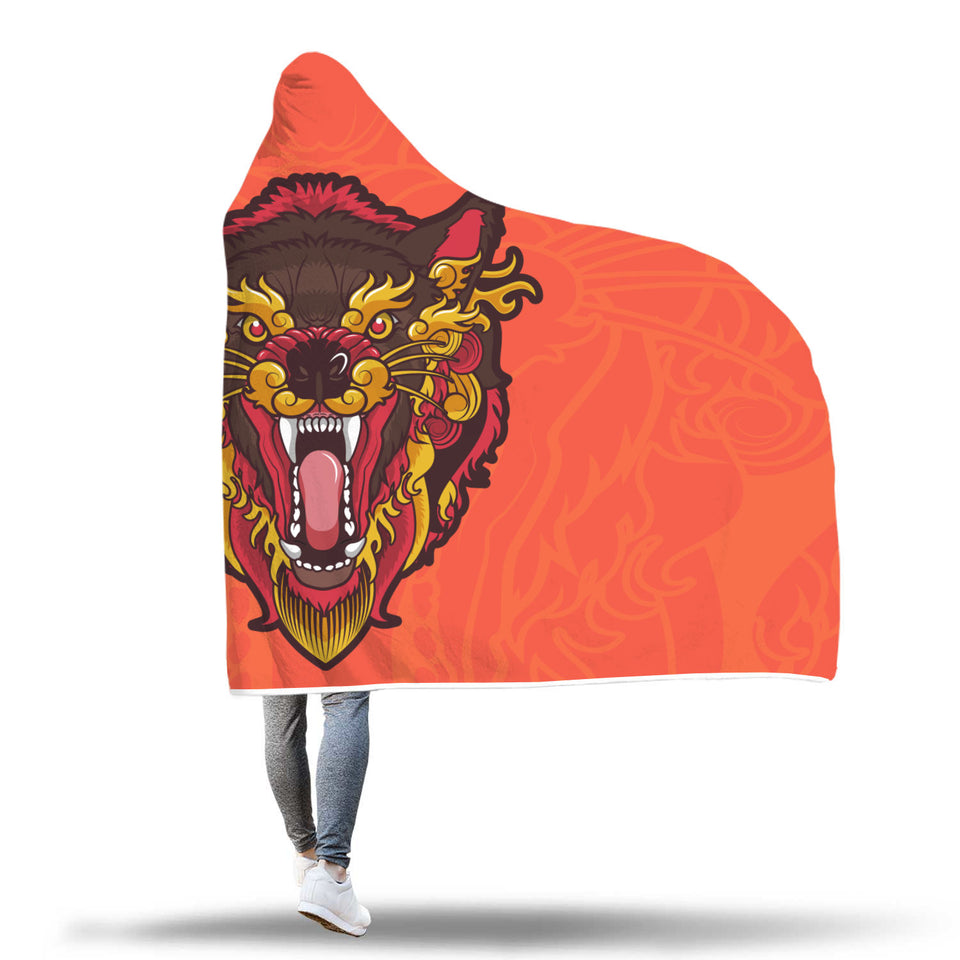 Angry Ethnic Wolf Hooded Blanket