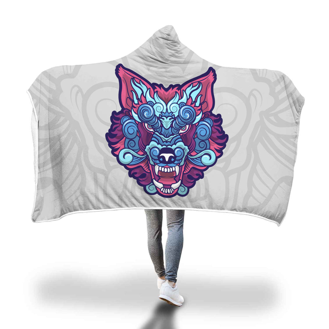 Colorful Ethnic Wolf Face Hooded Blanket