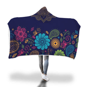 Colorful Paisley Floral Hooded Blanket