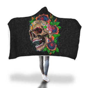 Colorful Skull Flower Hooded Blanket