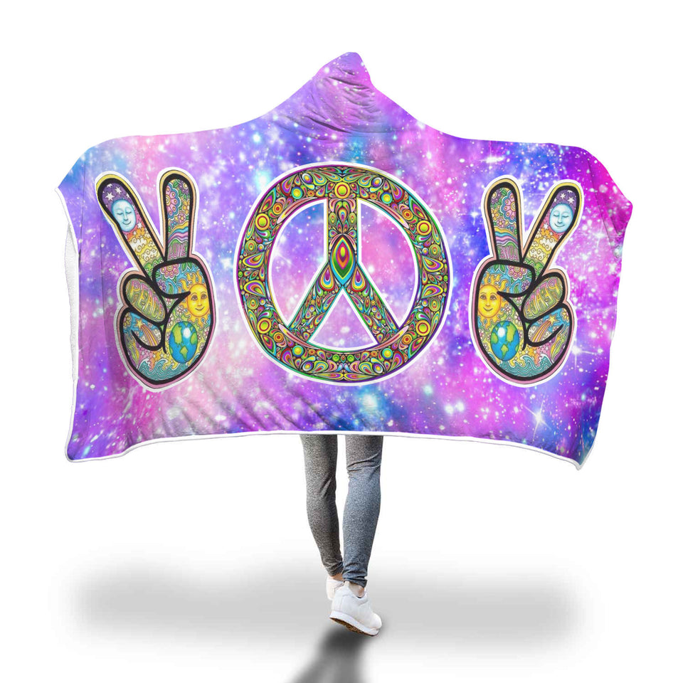 Peace Please Hooded Blanket