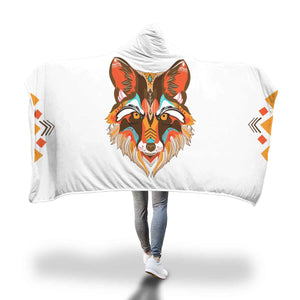 Look Into My Eyes Warm Color Wolf Hooded Blanket