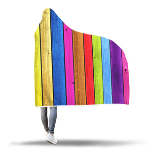 Wooden Rainbow Print Hooded Blanket