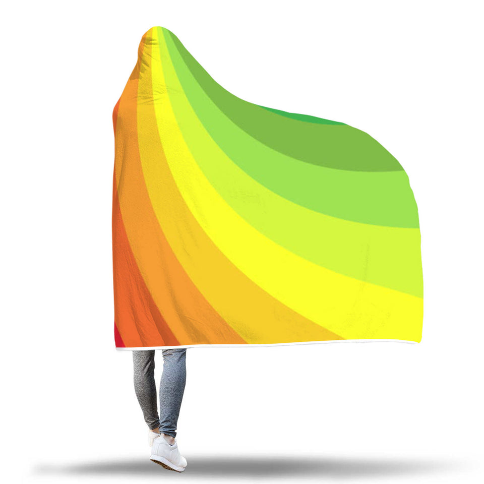 Rainbow Wave Hooded Blanket