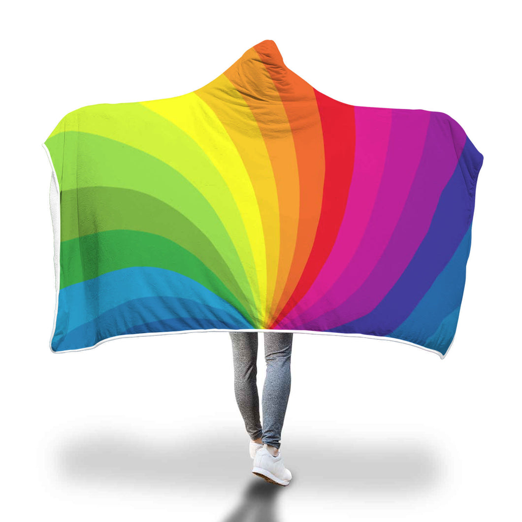 Rainbow Printed Hooded Blanket