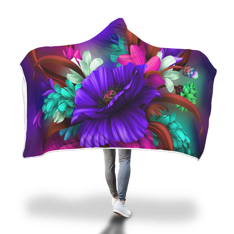 Colorful Spring Floral Hooded Blanket