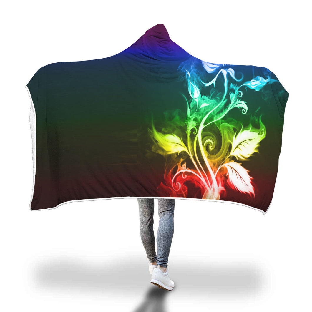 Colorful Fire Flower Hooded Blanket
