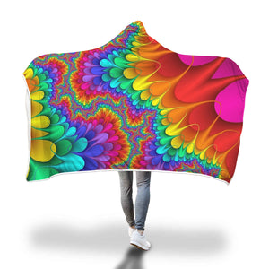 Colorful Rainbow Design Hooded Blanket