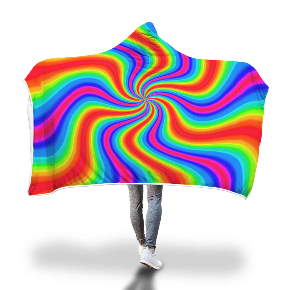 Stunning Rainbow Printed Hooded Blanket