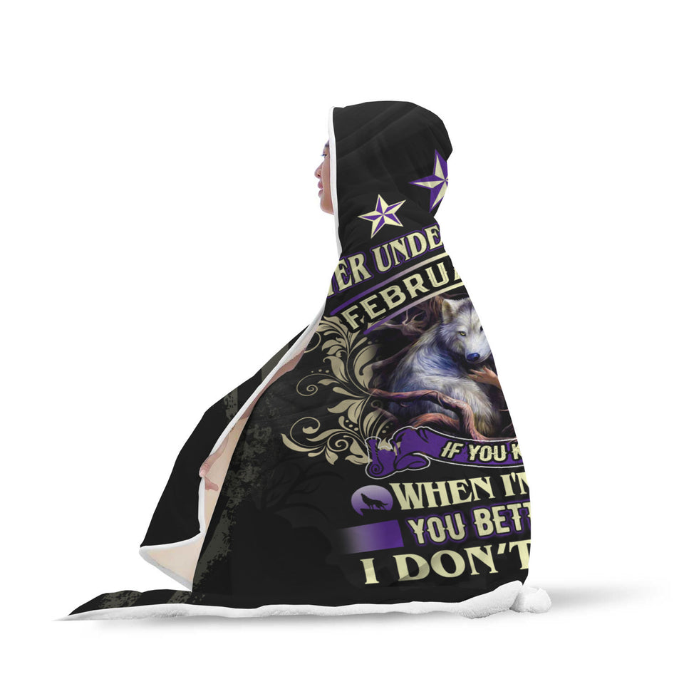 Never Underestimate This February Girl Hooded Blanket
