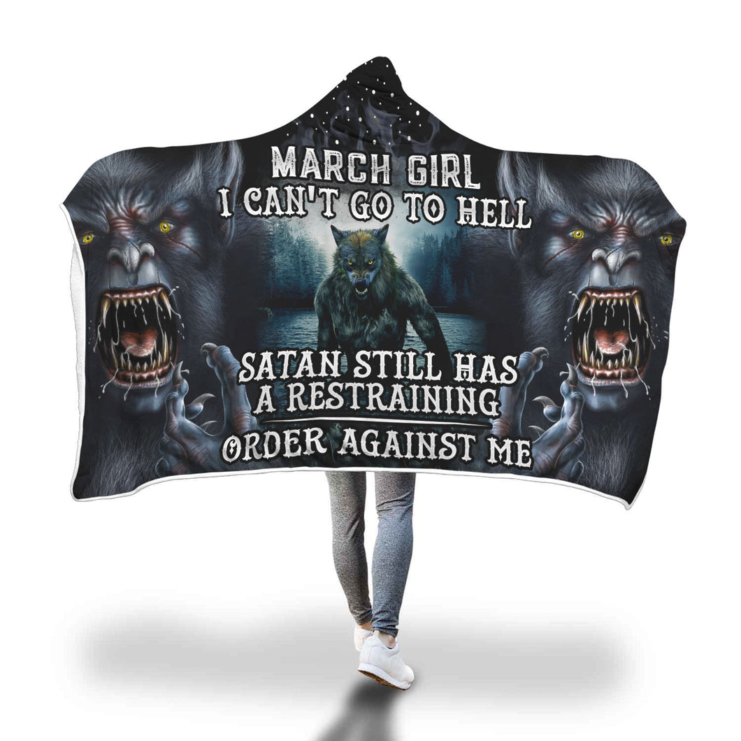 Satan Still Has A Restraining March Girl Hooded Blanket