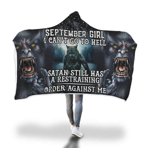 Satan Still Has A Restraining September Girl Hooded Blanket