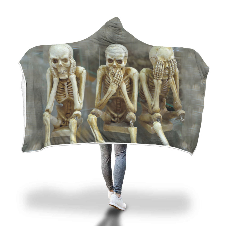 Skeleton Printed Hooded Blanket