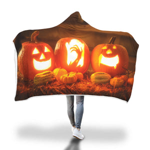 HAUNTED PUMPKIN HOODED BLANKET