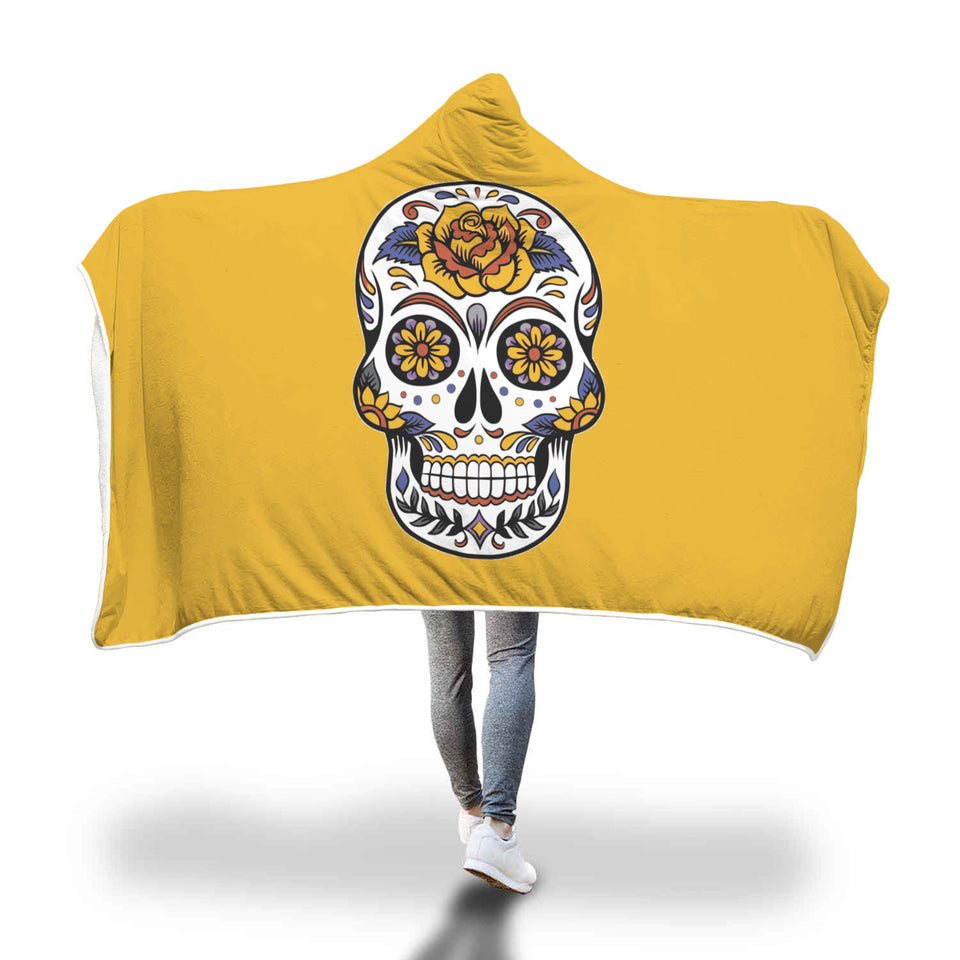 FLORAL SKULL HOODED BLANKET