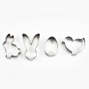 4PCS/Set Happy Easter Rabbit Cookie Mold Stainless Steel