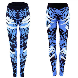 Dark Blue Printed Tight Gym Leggings
