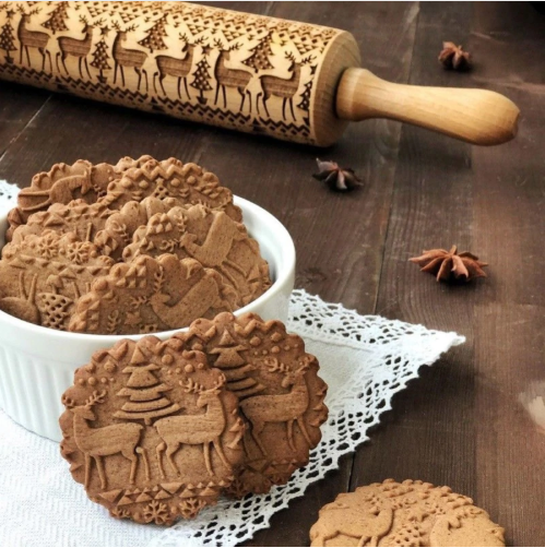 Engraved Roller Reindeer Snowflake For Baking Cookies Biscuit