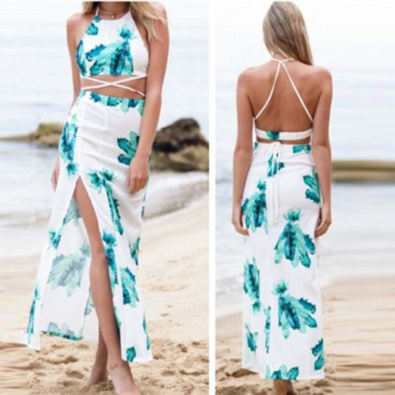 Women's Two Pieces Floral Print Beach Dress