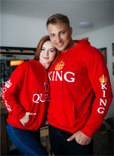 """ ALL Red - King Queen Hoodies"""