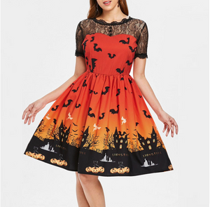 Women Short Sleeve Halloween Retro Lace Vintage Dress
