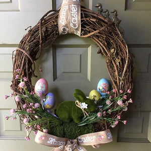 Easter Natural Dry Branches Rattan Wreath Easter Party Decoration