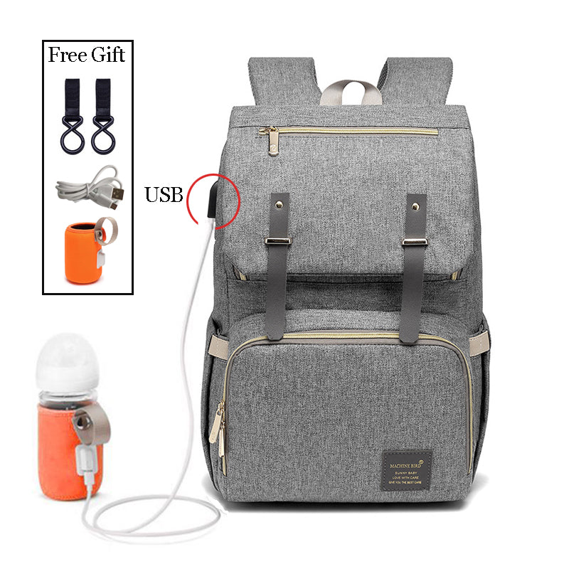 Fashion Large Capacity Baby Nappy Bag Diaper Bag Mummy Travel Backpack Women Nursing Bags For Mom USB Charging Milk Bottle Bags
