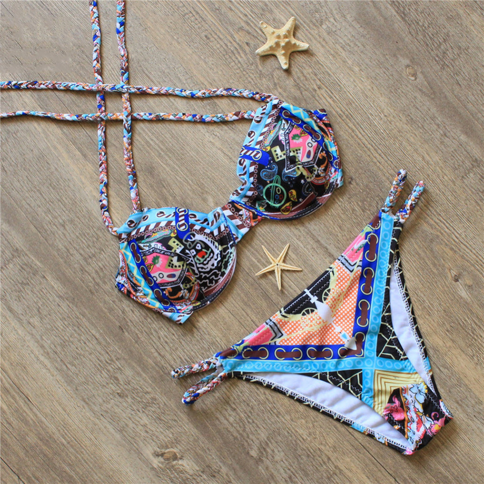 Summer Hand-woven Rope Swimming Printing Bikini