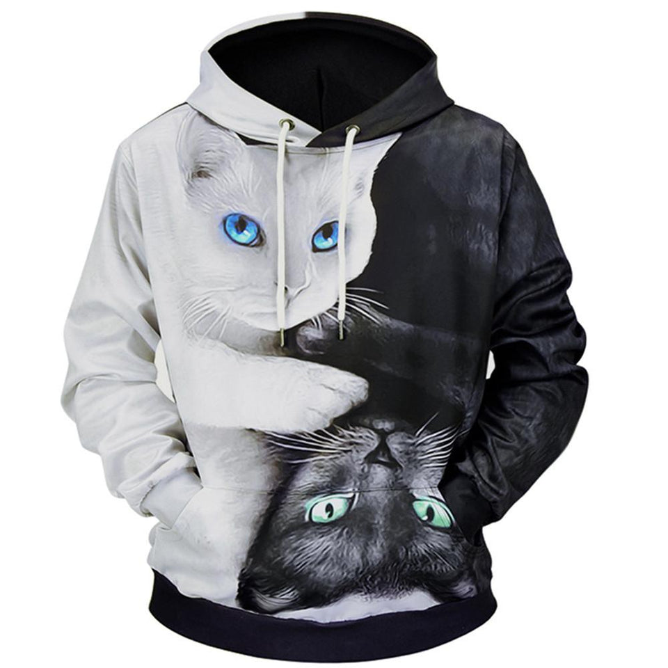 3D Printed Cat Pullover Hoodies
