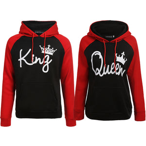 Red & black King Queen Hoodies