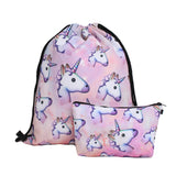3PCS /set  Printed Unicorn Backpack School Bags