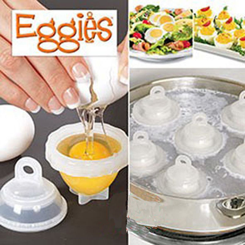 Hot 1 Set/7 Piece Hard Boil Egg Cooker 6 Eggies Without Shells With Bonus Egg White Separator Eggs Steamer Cooker Cooking Tools