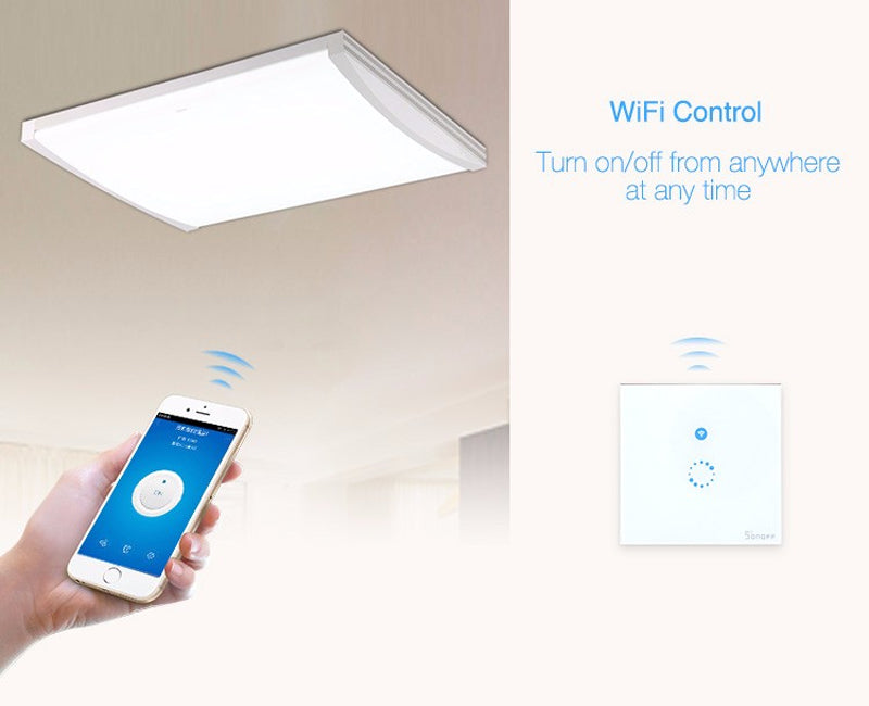 WiFi Wall Touch Light Switch 1 gang ON/Off Wireless Remote Control