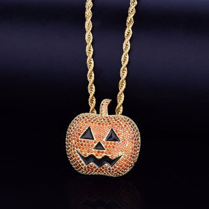 Golden & Red Pumpkin Pendant Necklace For Halloween