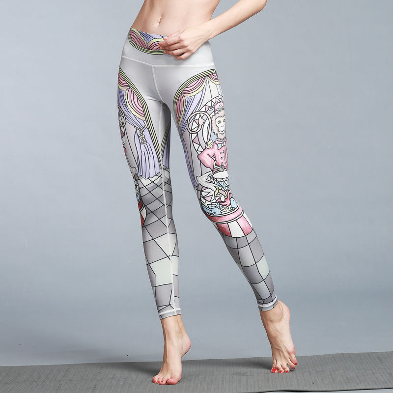 Women's Sport/Yoga Grey Geometry Printed Legging