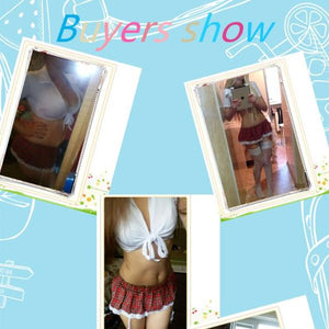 School Girls Costume Short Mini Skirt and Tops Halloween Role Play School Girl Sexy