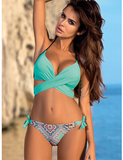 Sexy Bikini Women Swimsuit Push Up Swimwear Criss Cross Bandage Halter