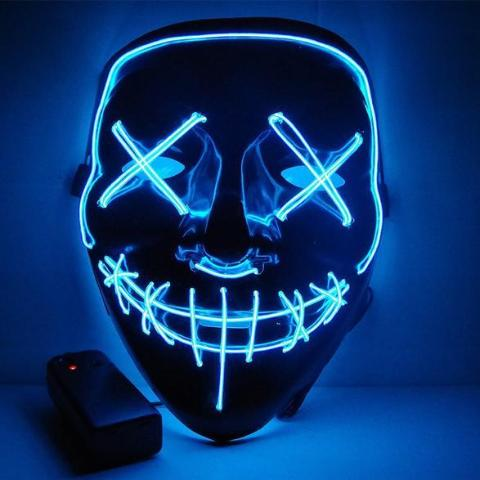 LED Face Mask Halloween Neon Light
