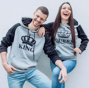 Gray King Queen Hoodies