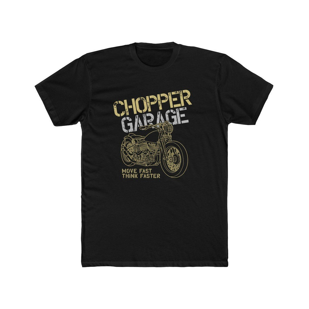 Men's cotton crew Chopper – Garage T-Shirt Printify Solid Black L