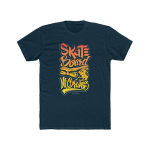Men's Cotton Crew Tee – Skate Board No Breaks T-Shirt Printify Solid Midnight Navy XS