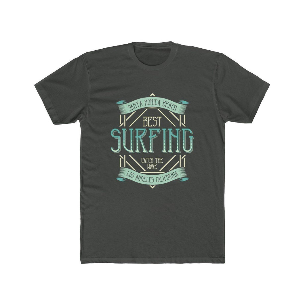 Men's Cotton Crew Tee – Surfing T-Shirt Printify Solid Heavy Metal L