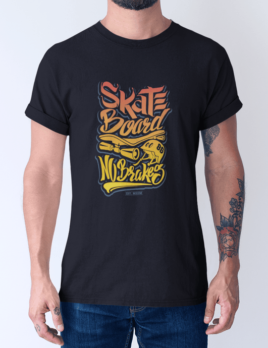 Men's Cotton Crew Tee – Skate Board No Breaks T-Shirt Printify