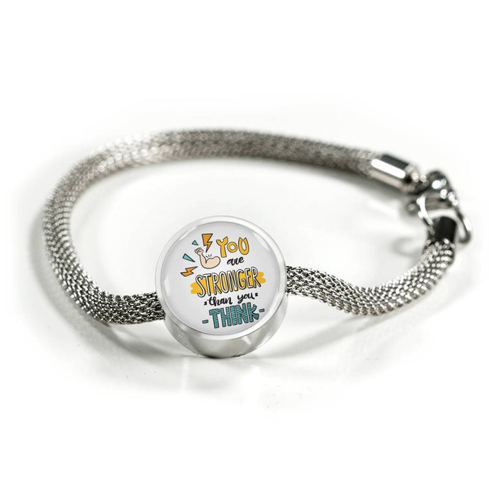 You Are Stronger Than You Think - Charm Bracelet Circle Charm ShineOn Fulfillment S/M Bracelet & Charm No