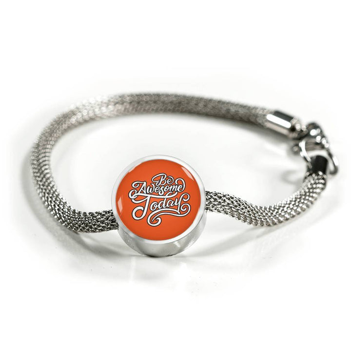 Be Awesome Today – Charm Bracelet Circle Charm ShineOn Fulfillment S/M Bracelet & Charm No