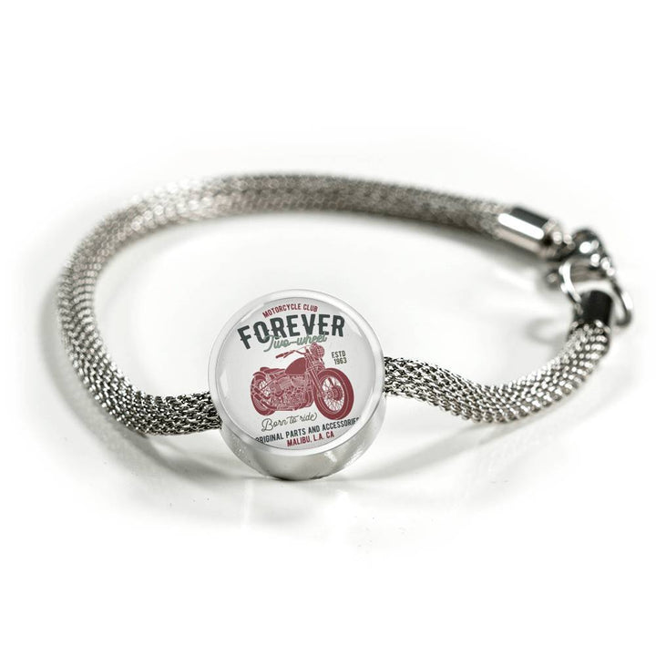Motor Bike Riders- Charm Bracelet Circle Charm ShineOn Fulfillment S/M Bracelet & Charm No
