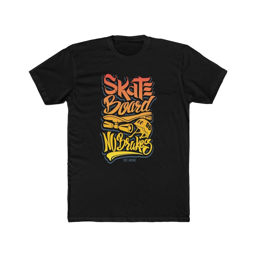Men's Cotton Crew Tee – Skate Board No Breaks T-Shirt Printify Solid Black XS