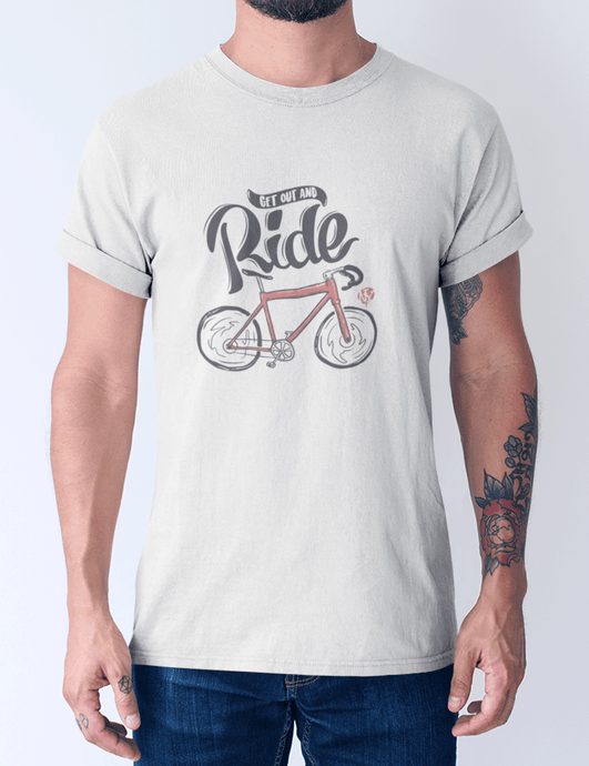 Men's cotton crew tee – Get Out and Ride T-Shirt Printify