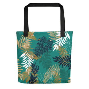 Dark Cyan leaf printed tote bag Stoneage Fashion Club Default Title