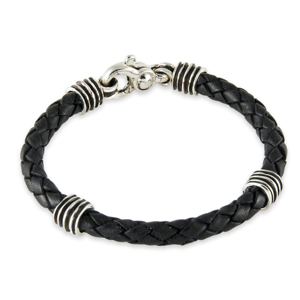 Men's Waves Bracelet in Black Leather